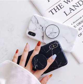 Marble iphone case - pink, white, black