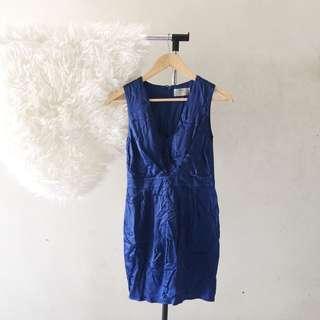 (X) S.M.L Blue Sateen Dress | Satin