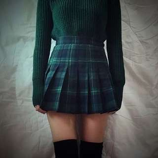 Vintage green plaid skirt
