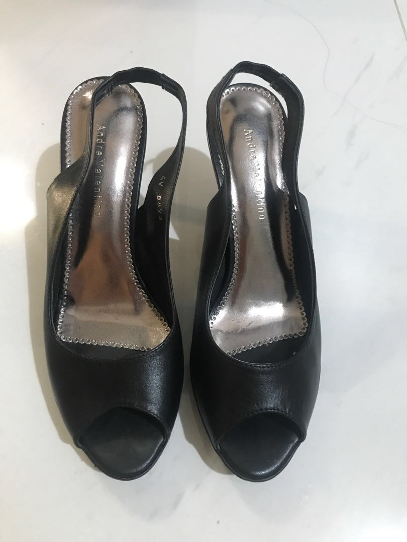 a65f5a83861e8 Andre Valentino black leather heels siZe 39, Women's Fashion, Shoes ...
