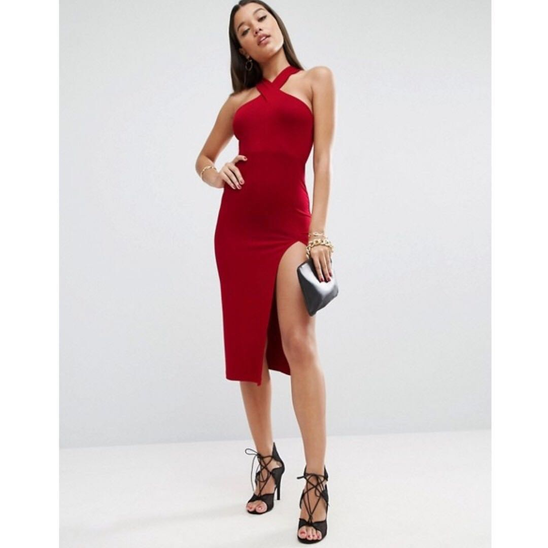 cca4069ac617 ASOS Thigh Split Cross Front Midi Dress in Cherry Red, Women's ...