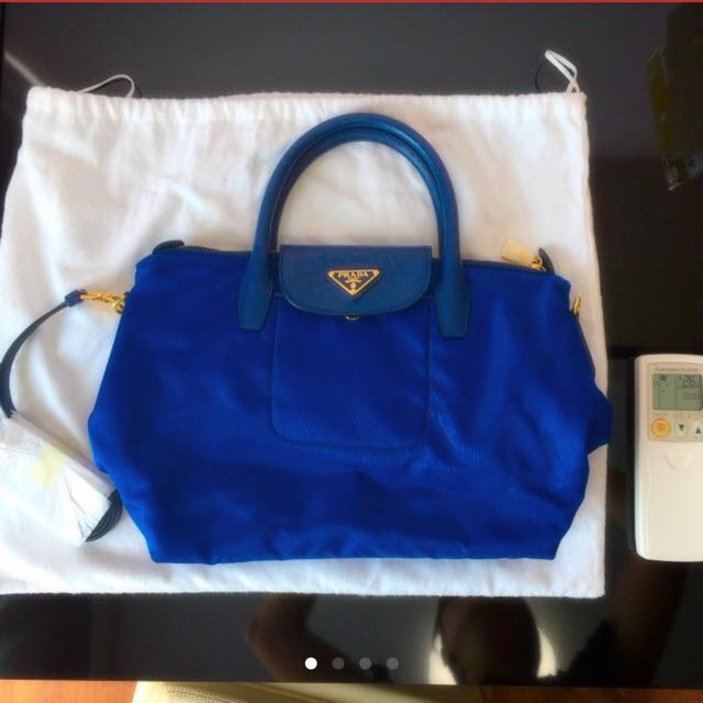 47e588b6de9976 ... buy authentic brand new prada tessuto saffiano shopping tote blue  luxury bags wallets on carousell d6800 ...