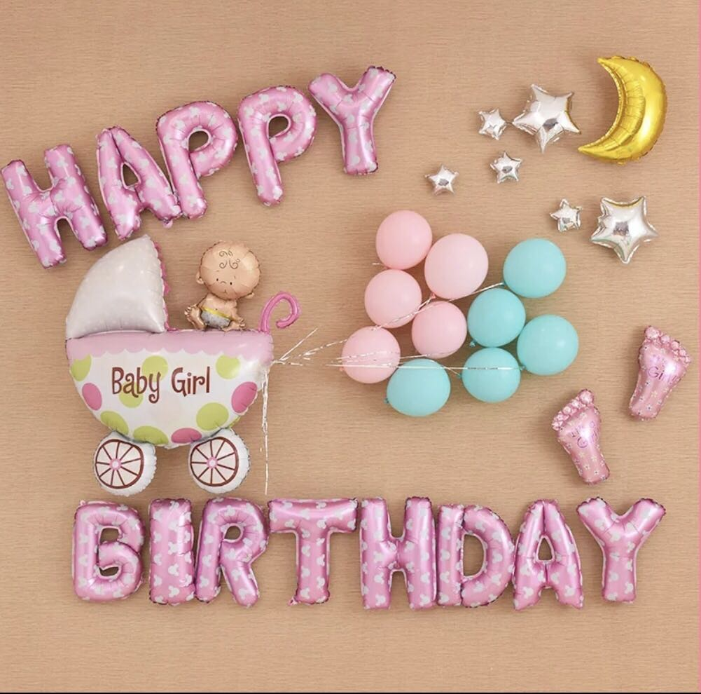 Baby Girl Happy Birthday Party Deco Set Everything Else On Carousell