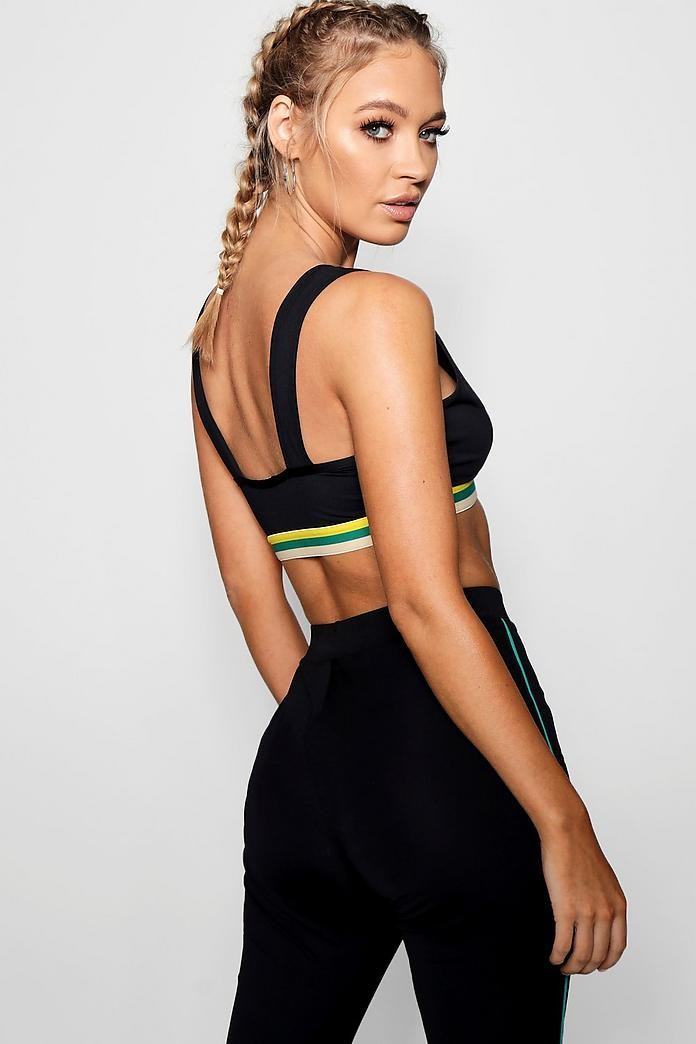 daee4e7e6affa BN BooHoo Fit Colour Block Plunge Sports Bra