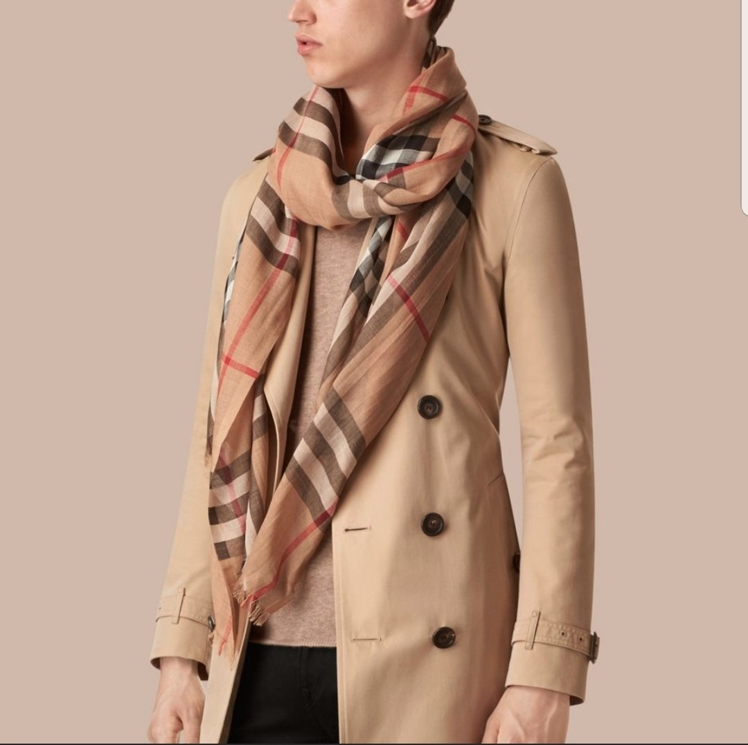 Burberry Lightweight Check Wool and Silk Scarf e89939d8c9