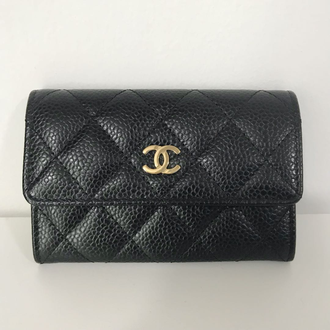 7ad1bcf46e71 Chanel Caviar Card Holder Wallet in Gold Hardware, Luxury, Bags ...