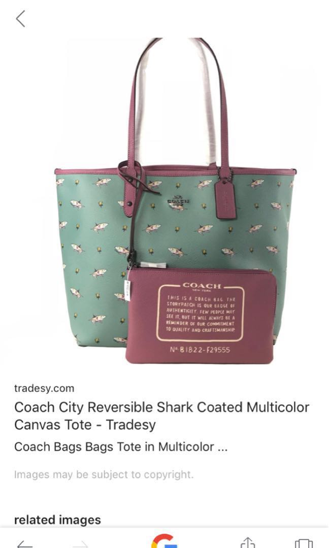 517e457ca367 Coach shark reversible tote bag - original price at  700 FAST ...