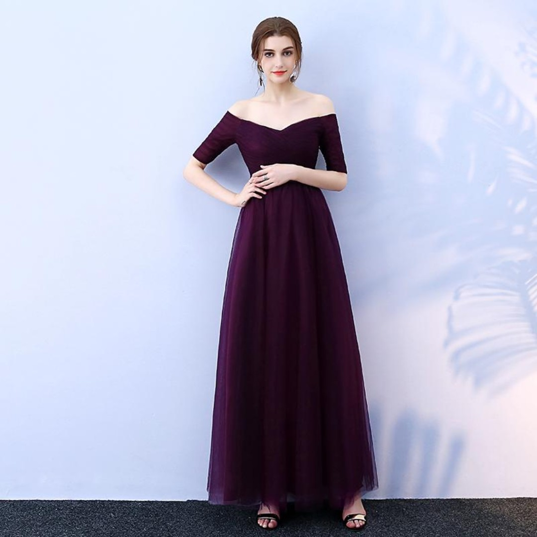 db6153380edb Dark Purple Bridesmaids Dress with Off-Shoulder   Quarter Sleeve ...