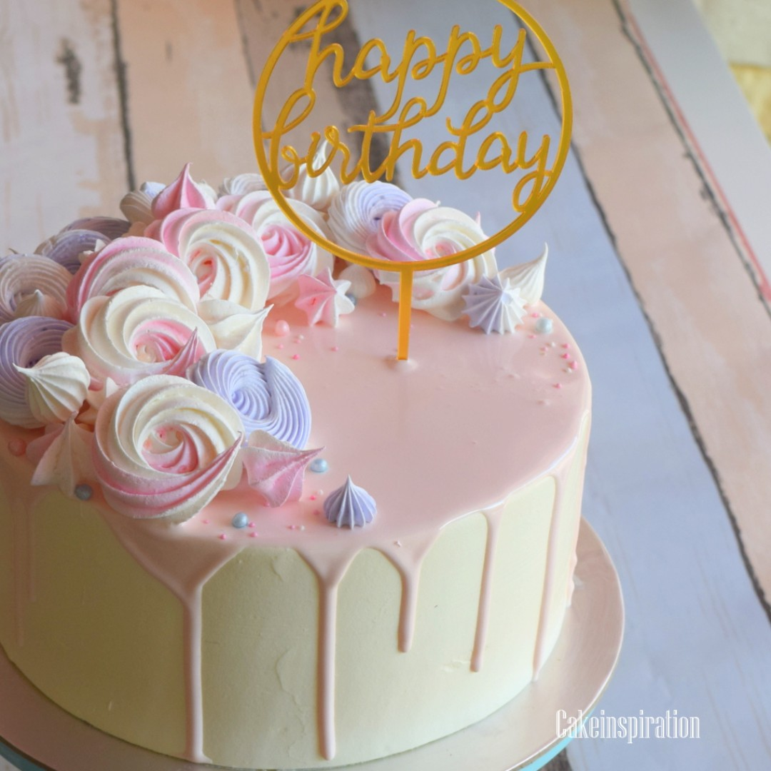 Drip Cake Pastel Pink With Meringue Kisses Singaporecake