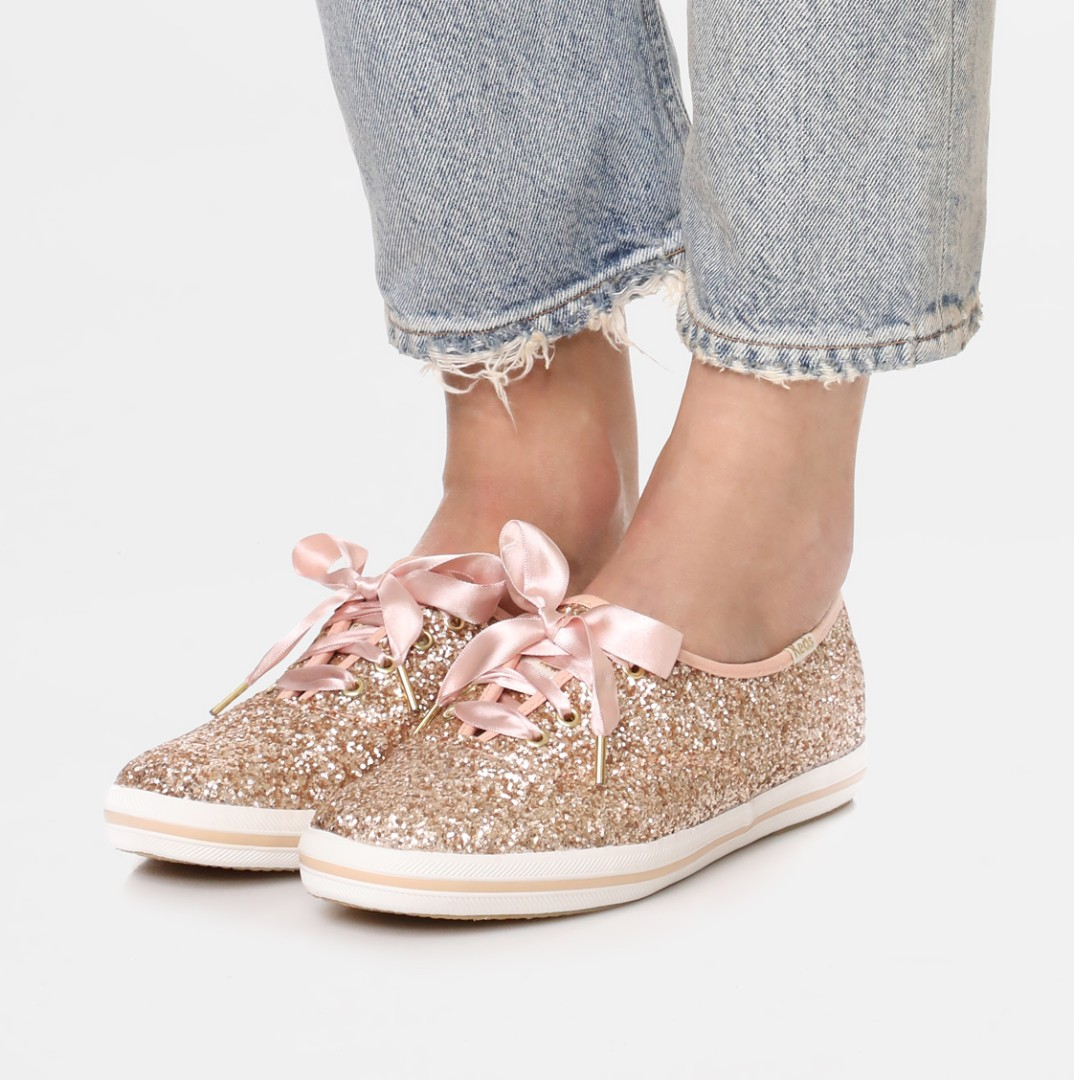 1d5080278fd1 Keds x Kate Spade New York ROSE GOLD Glitter Sneakers