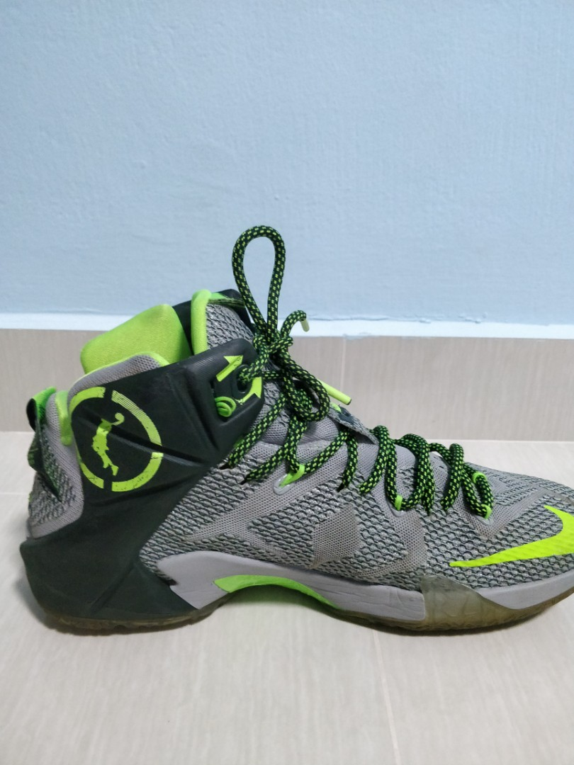 reputable site a9b7f 8f4a4 CHEAP] Nike LeBron 12 Wolf Grey/Reflect Silver-Black-Electric Green ...