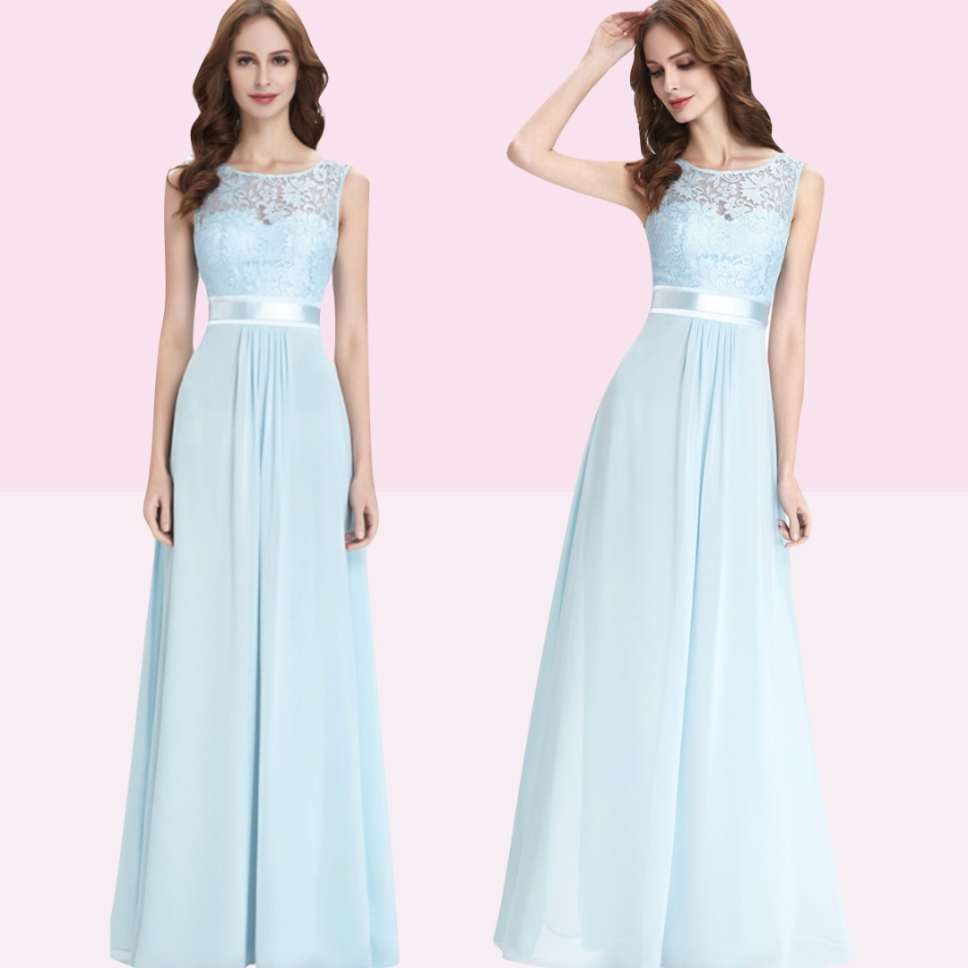 8dbf3e81980d Light Blue Bridesmaid Dress With Sleeves