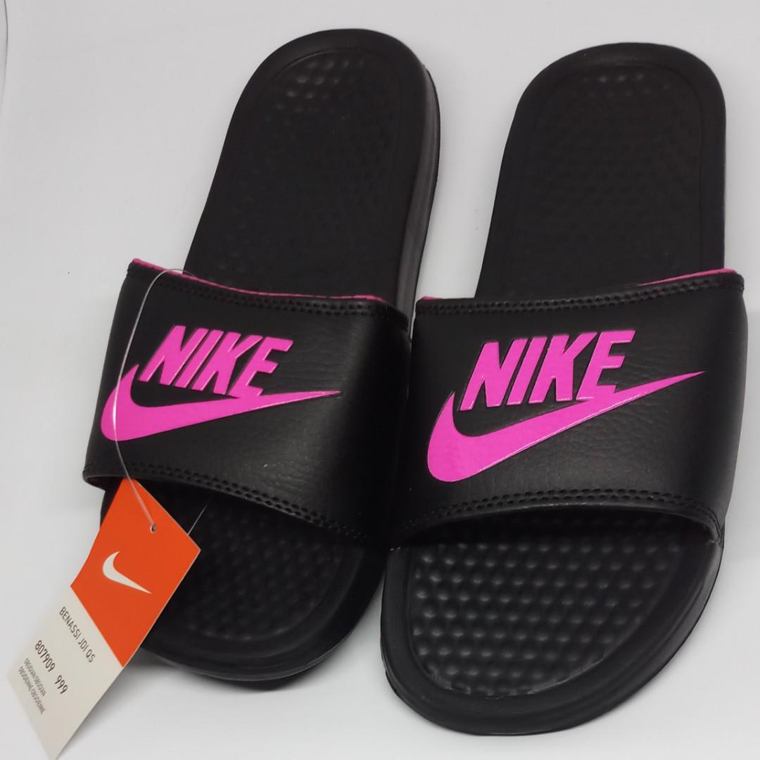 Nike Benassi Slippers - Black Pink (OEM