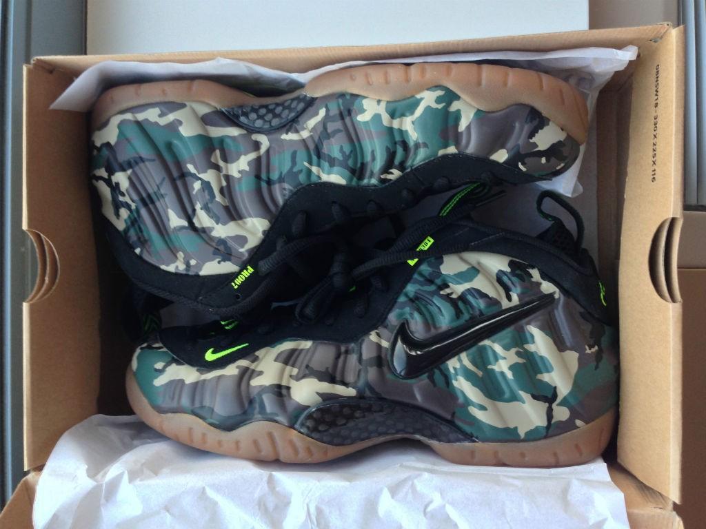 detailed look b26d4 e0edb Nike Foamposite 'Green Camo' size US9.5