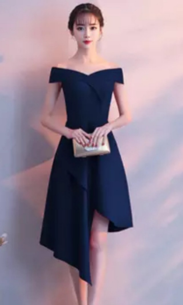aa127321742 Off Shoulder Dress (Dark Blue)