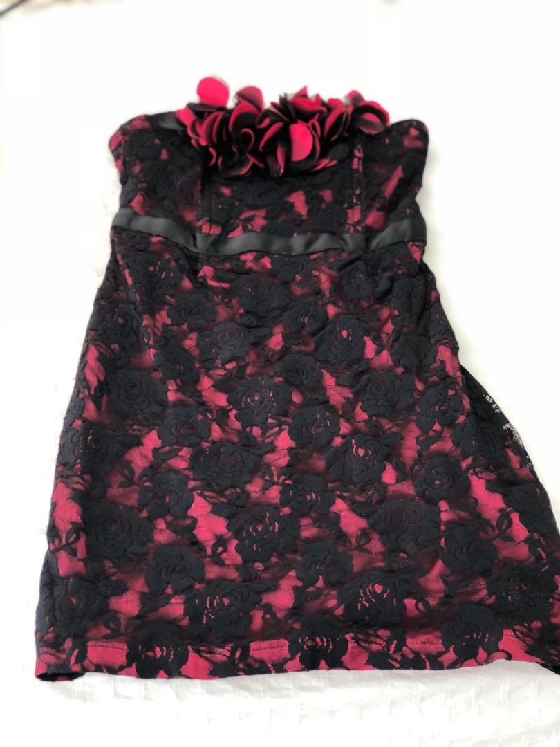 Party dress red and black lace size 8
