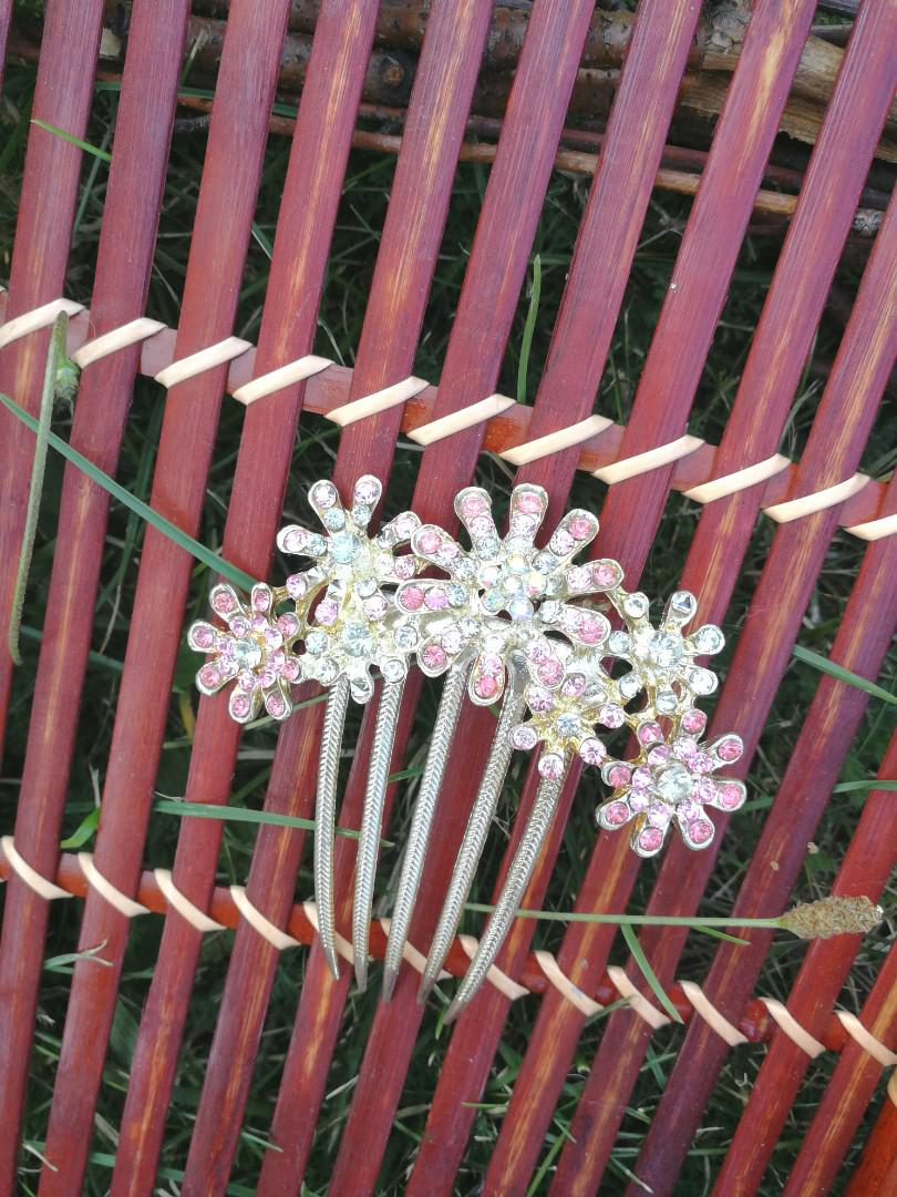 Pink and Gold Tone Flower Burst Hair Comb