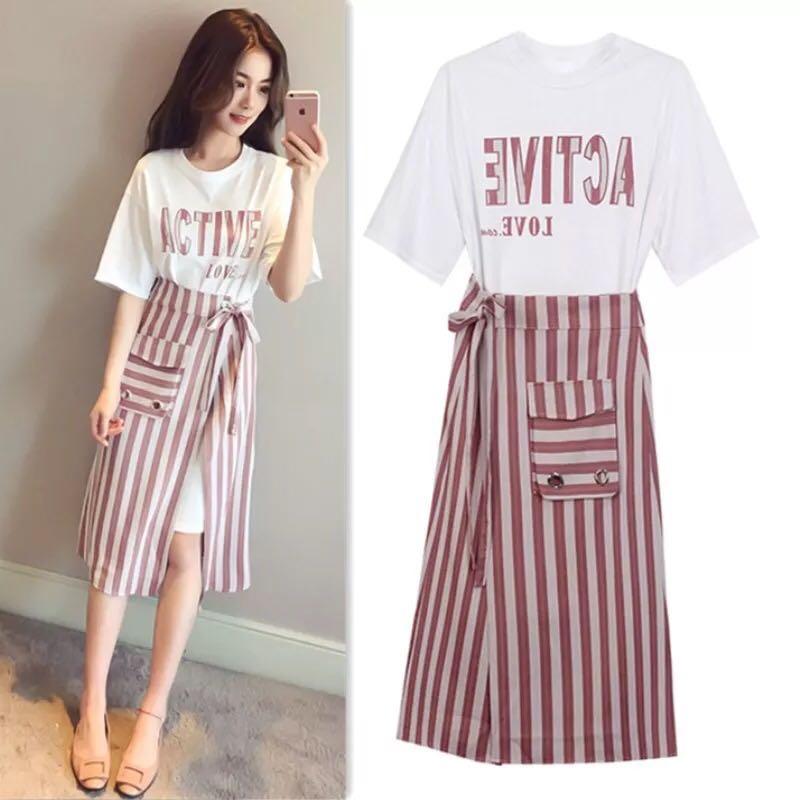 523a4d0d999 Plus Size Tshirt Dress + Skirt Set