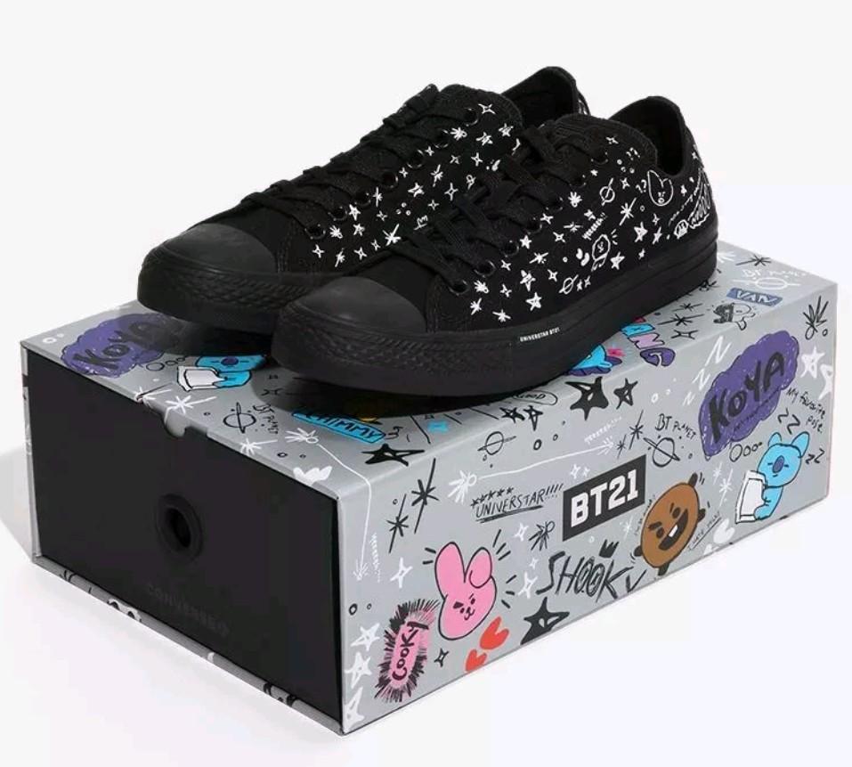 54f44c12875f6d PO) BTS Converse X BT21 Chuck Taylors all star black shoes