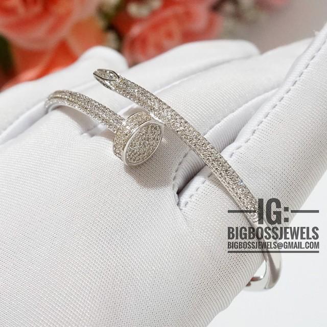 Silver Diamond Like Crystals Nail Bracelet Bangle 925 Women S Fashion Jewellery Bracelets On Carou