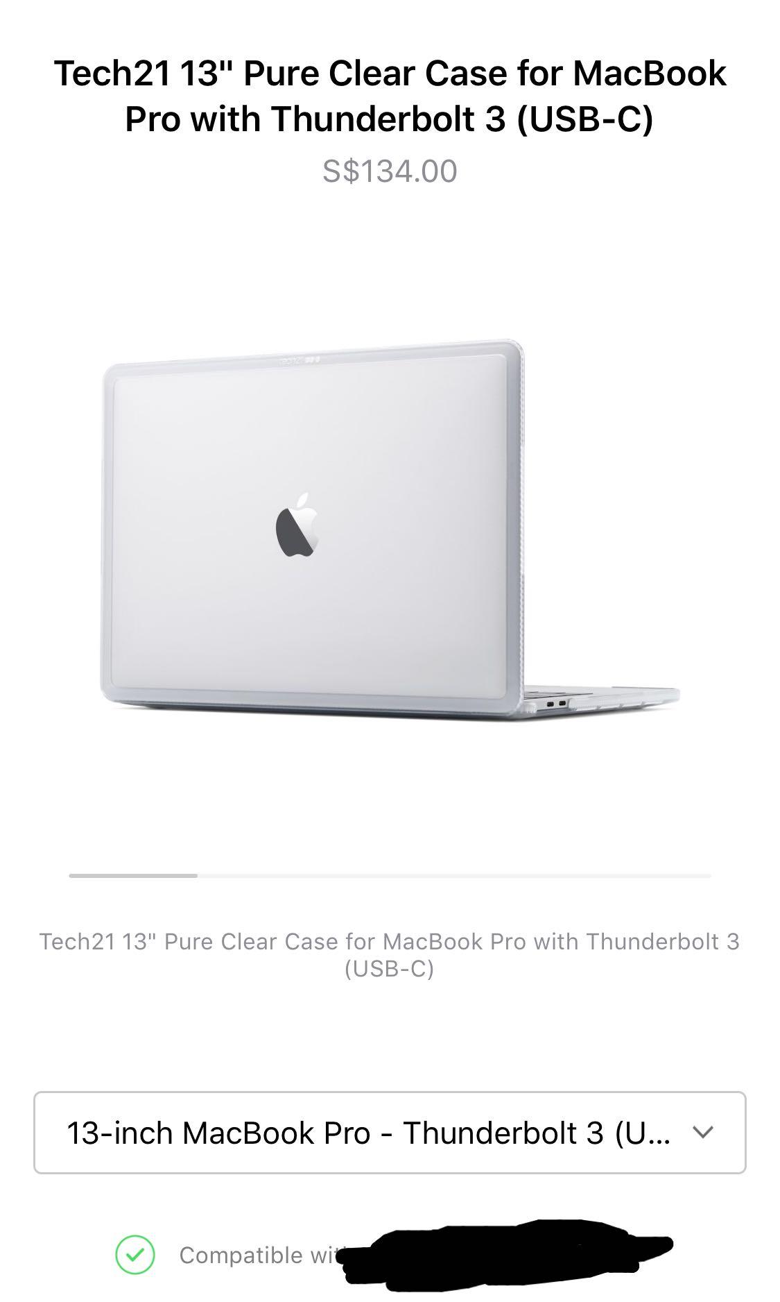 "the latest 99d99 e0f80 Tech 21 13"" Pure Clear Case usb-c macbook pro"