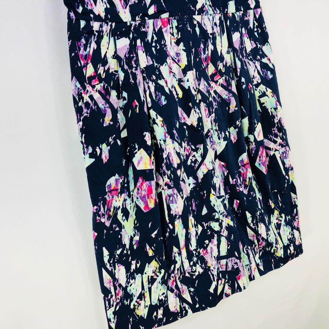 Tokito Dress Size 10 Geometric Print Sleeveless Pockets Wedding Work Career