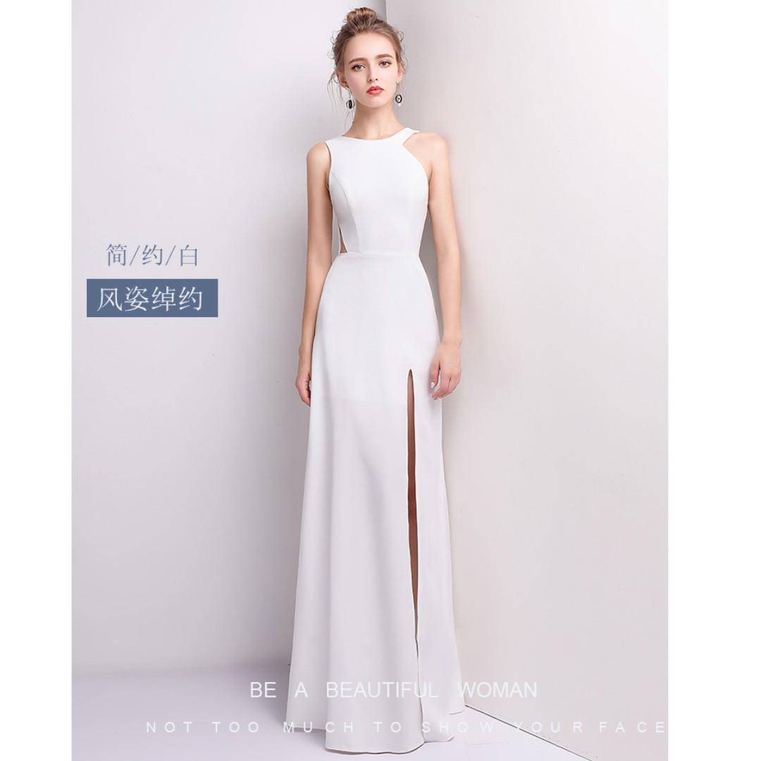 Very High Quality Elegant White long gown/dress, Women\'s Fashion ...