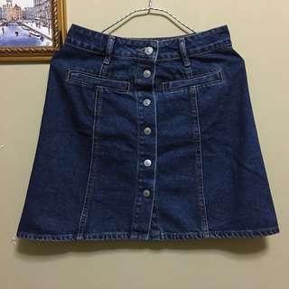 Pull & Bear Denim Button Skirt