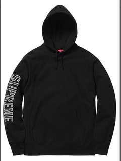 Supreme Sleeve Embroidery Hooded Sweatshirt Black