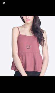 Fayth Eva Pleated Top in Mulberry.