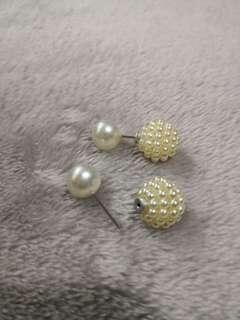 Large 2 in 1 Faux Pearl Earrings (Cream / white)