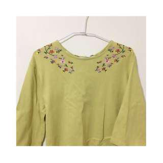 🚚 Pazzo刺繡芥末黃上衣