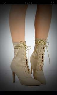 Nude lace up booties (size:6)