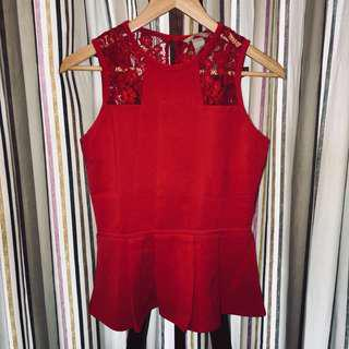 Red Exclusive Peplum Top