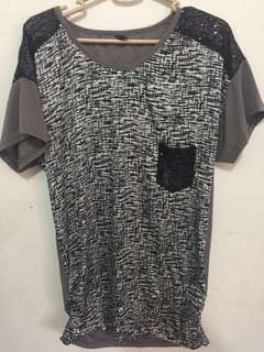 Sequinned Long Gray Black Blouse Large