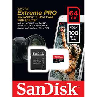 SanDisk Extreme Pro 64GB Micro SD Card 100mb/s