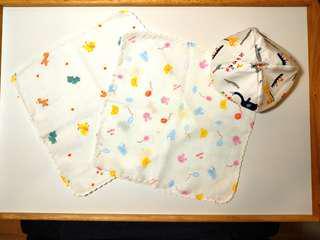 🚚 【套組】純棉小方巾口水巾&新生兒胎帽