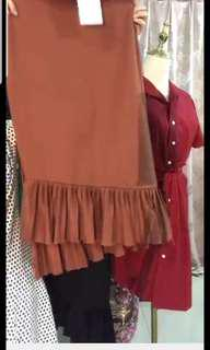 Brown Ruffle Skirt