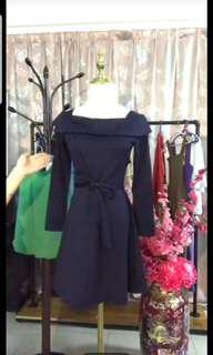 Square Neck Navy Blue Dress
