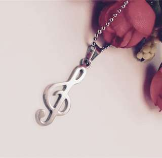 Stainless steal silver musical tone pendant necklace