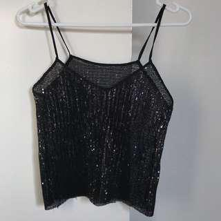 NEW Zara Black Sparkly Top