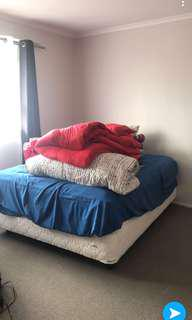 Bed and mattress and blanket