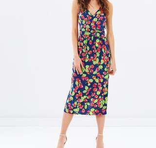 Warehouse Strawberry Midi Dress
