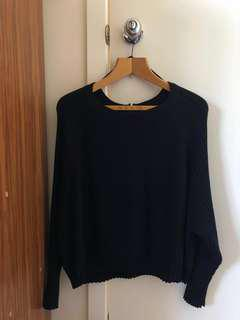 Plain Black Knitted Sweat
