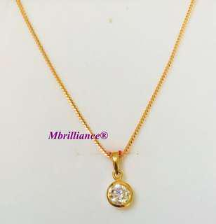 Cz stone pendant & foxtail chain necklace set , 916 Gold