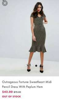 Asos peplum striped dress uk 10