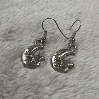 Moon and stars silver metal dangling earrings