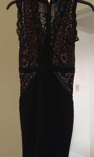 Black dress. Lace/Nude Size S
