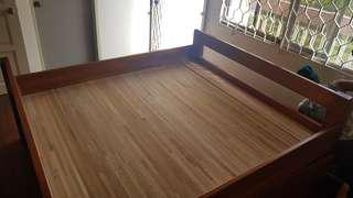 Timber King Sized Bed with Drawers