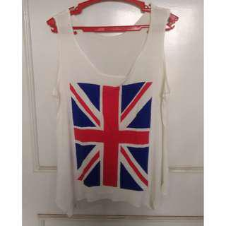 White with UK Flag Print Tank Top